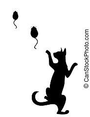 noir, silhouette, chat
