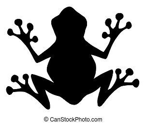 noir, silhouette, grenouille