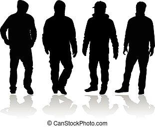 noir, silhouette, man.