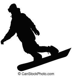 noir, silhouette, snowboarder