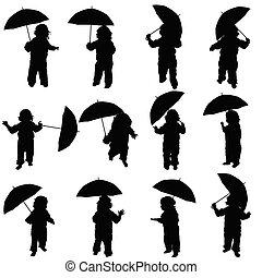 noir, silhouette, vecteur, parapluie, enfant