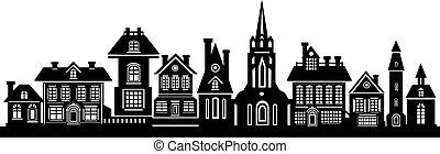 noir, silhouette, ville