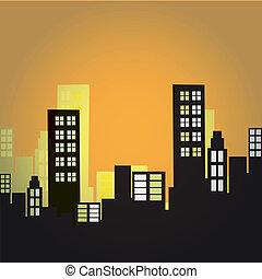 noir, silhouettes, de, bâtiments