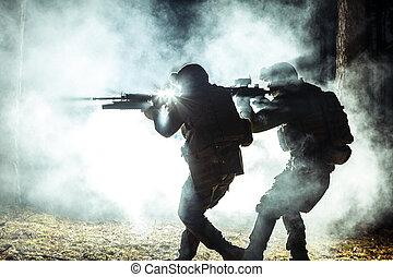 noir, silhouettes, de, soldats