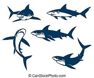 noir, silhouettes., ensemble, requins, grand