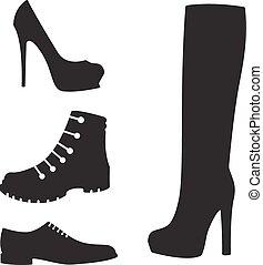 noir, silhouettes, ensemble, vecteur, chaussures