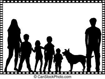 noir, silhouettes, familles, frame.