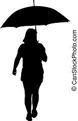 noir, silhouettes, femmes, parapluie, sous