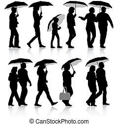 noir, silhouettes, homme femme, sous, umbrella., vecteur, illustrat