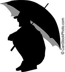 noir, silhouettes, hommes, parapluie, sous