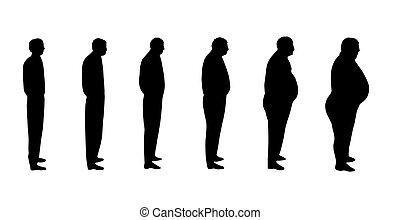 noir, silhouettes, mâle, blanc