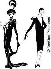 noir, silhouettes, r, filles