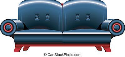 noir, sofa, cuir