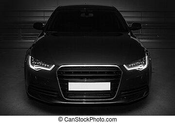noir, sports, puissant, voiture