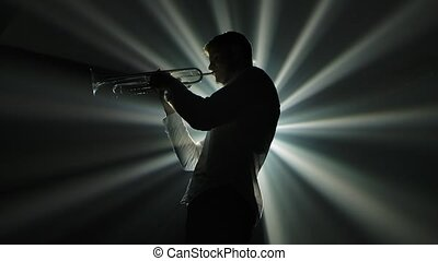 noir, spotlights., performance, mélodie, fond, homme, lent, ...