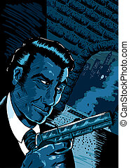 Noir spy scene in a comic book styl - Classic noir spy scene...