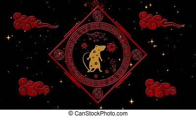noir, stars., 4k, lunaire, festival, année, chinois, simbol, toile de fond, event., vidéo, nouveau, rat, 3d, vacances, fond, feux artifice, nuit, animation., boucle, printemps, étoilé, rendre, année, seamless, scintillement
