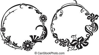 noir, stencil, deux, couronne