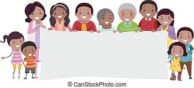 noir, stickman, bannière, famille