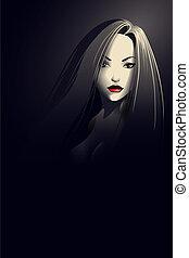 noir, stijl, jonge vrouw , verticaal