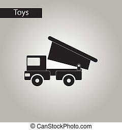 noir, style, camion jouet, blanc