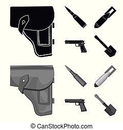 noir, style, ensemble, icônes, cartouche, bombe, symbole,...