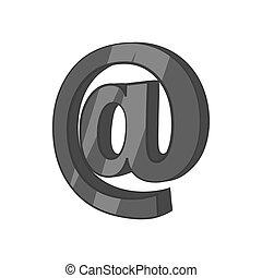 noir, style, icône, e-mail, signe, monochrome