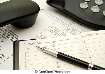 noir, stylo, planificateur