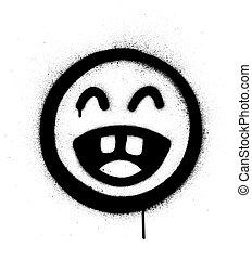 noir, sur, vaporisé, rire, icône, blanc, graffiti, bruyant, dehors