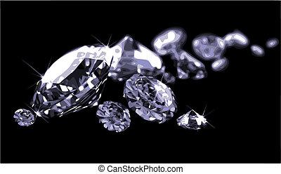 noir, surface, (vector), diamants