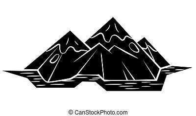noir, symbole, :, silhouette, montagne