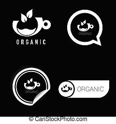 noir, symbole, vecteur, organique, blanc