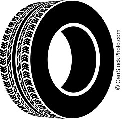 noir, symbole, vecteur, terrain, pneu