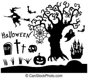 noir, symboles, ensemble, halloween, isolé, silhouette, blanc