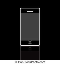 noir, téléphone, isolé, mobile