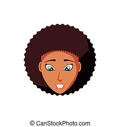 noir, tête, femme, caractère, avatar