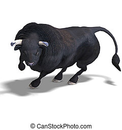 noir, taureau, est, prêt, pour, les, baston