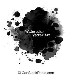 noir, texture., aquarelle, résumé