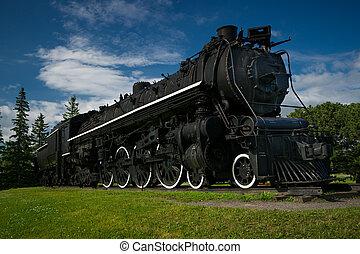 noir, train, vieux, vapeur, grand