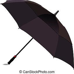 noir, umbrella., vecteur, illus, ouvert
