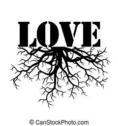 noir, vecteur, amour, racines, illustration