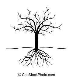 noir, vecteur, arbre, illustration., roots.