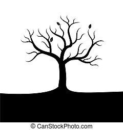 noir, vecteur, arbre