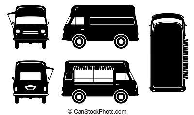 noir, vecteur, camion, illustration, icônes nourriture