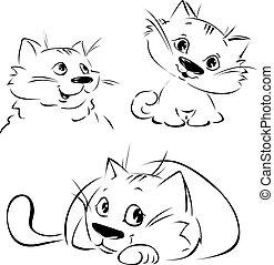 noir, -, vecteur, croquis, mignon, 3, illustration, pozition, chat, contour