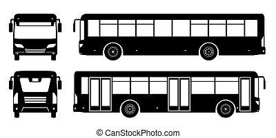 noir, vecteur, icônes, illustration, autobus