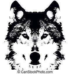 noir, vecteur, loup, illustration