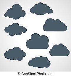 noir, vecteur, nuages, illustration, collection