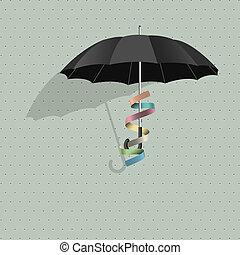 noir, vecteur, parapluie, ruban, coloré