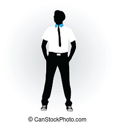 noir, vecteur, poser, homme, cravate